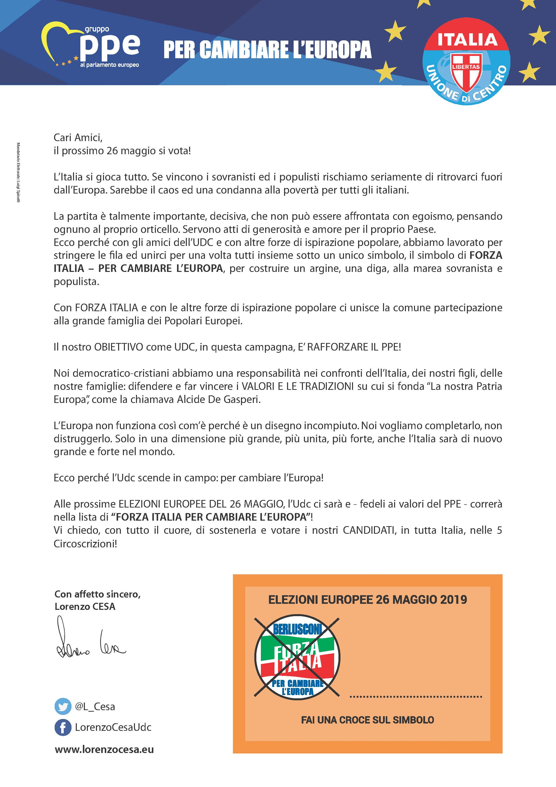 Elezioni Europee 2019 – Lettera del Segretario Nazionale Udc